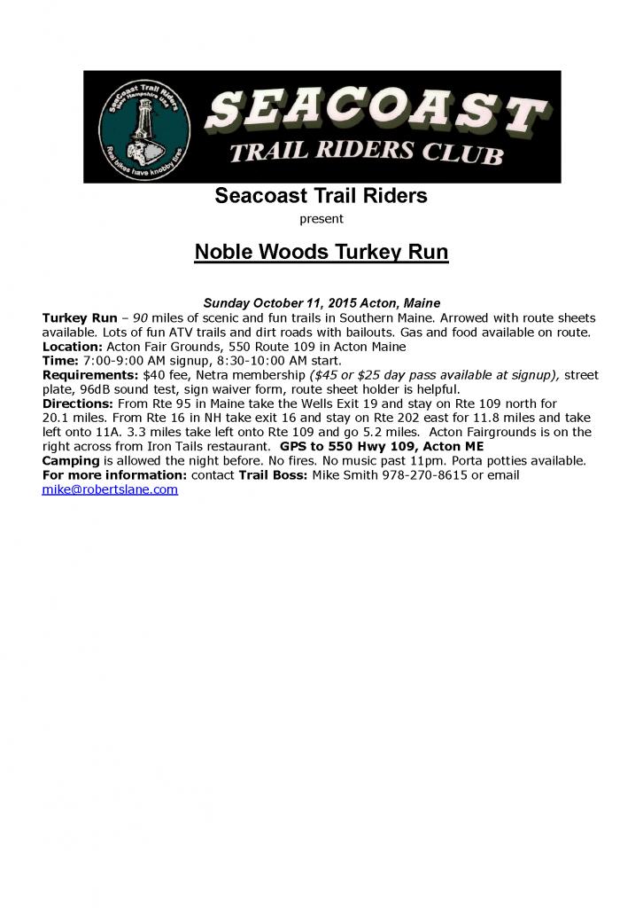 Noble Woods Turkey Run @ Acton Fair Grounds | Acton | Maine | United States
