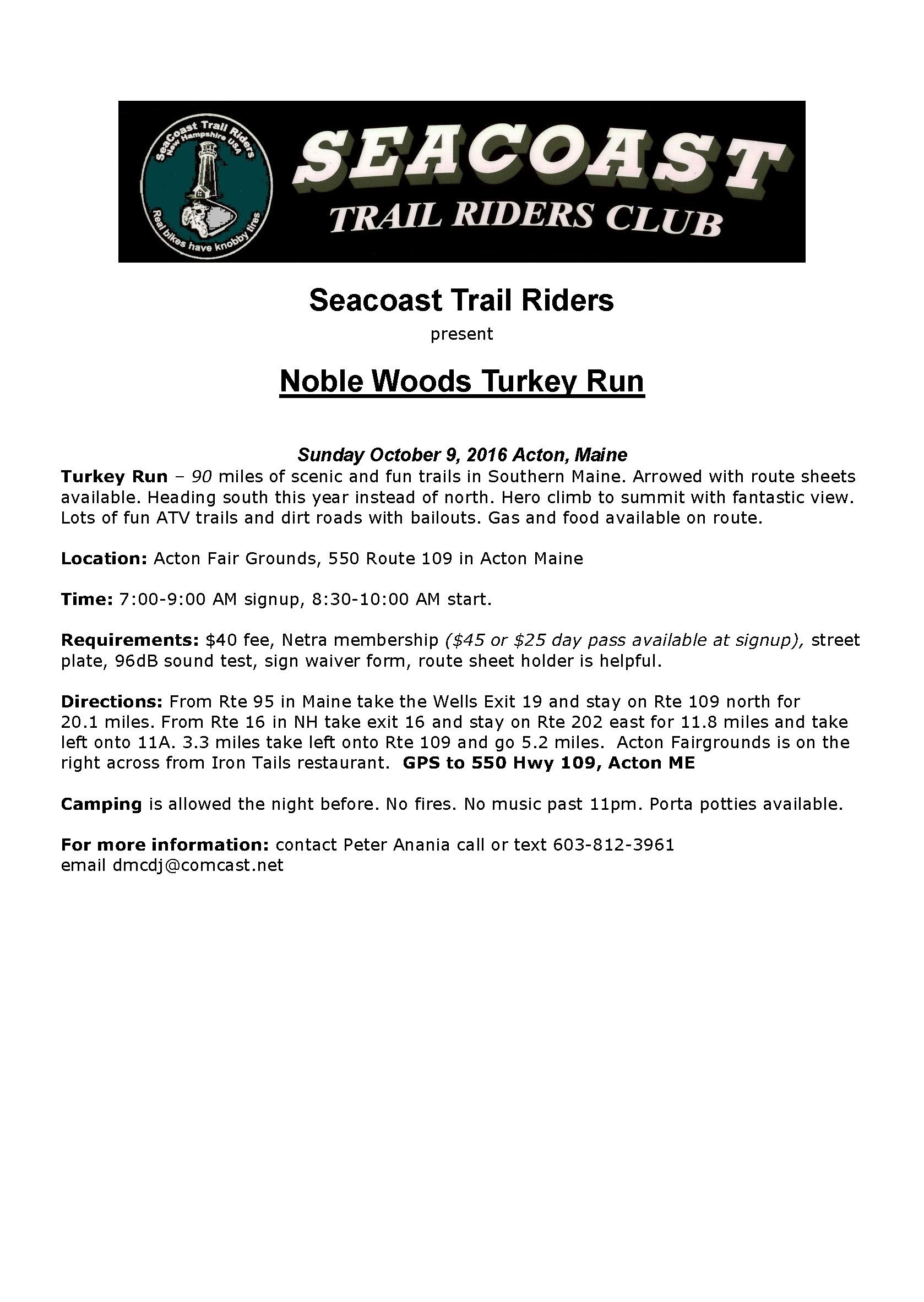 Noble Woods Turkey Run @ Acton Fair Grounds | Acton | Maine | United States