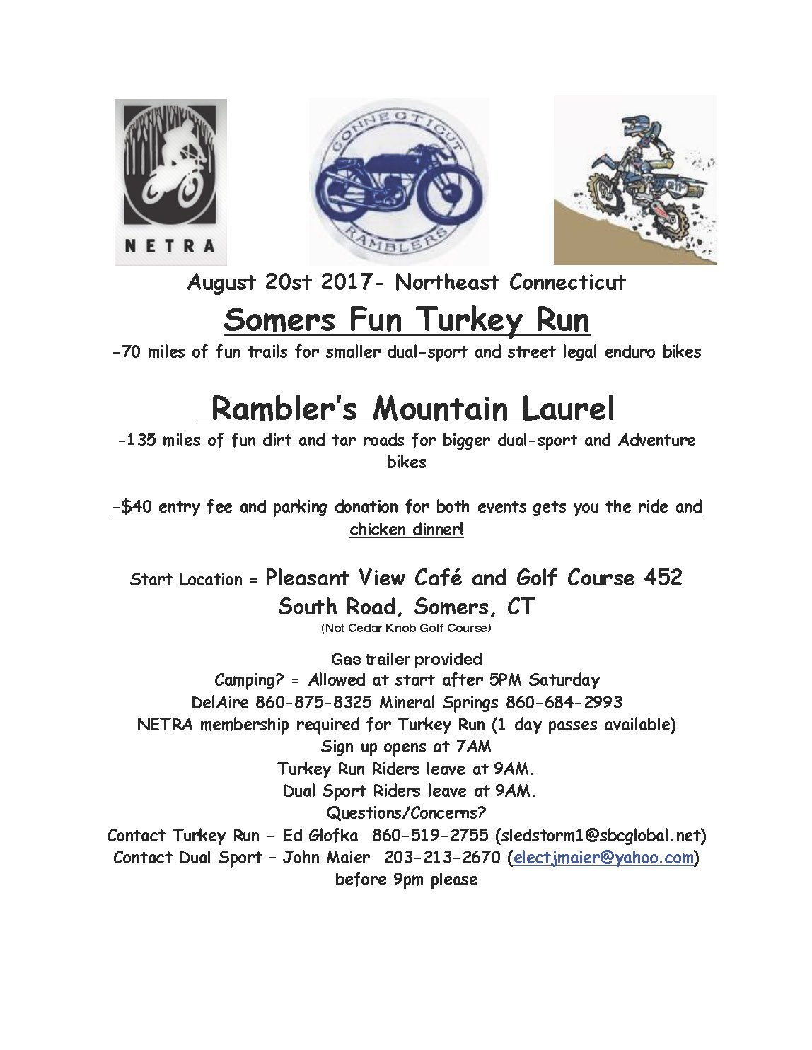 Somers Fun Turkey Run/Dual Sport @ Pleasant View Cafe and Golf Course | Somers | Connecticut | United States